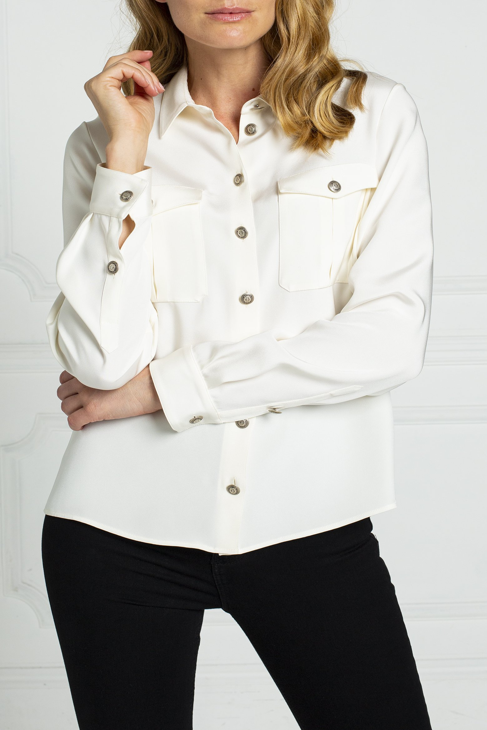 thom-laurence-silk-crepe-blouse-military-style-boxpleated-pockets-silver-buttons-2