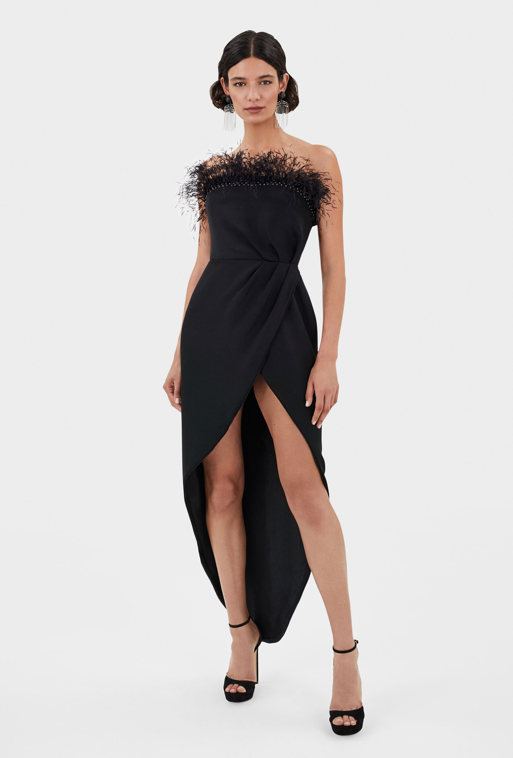 Thom Laurence Dress, Black Ostrich plumes, Artful Draping Hand embellishment, Made in London