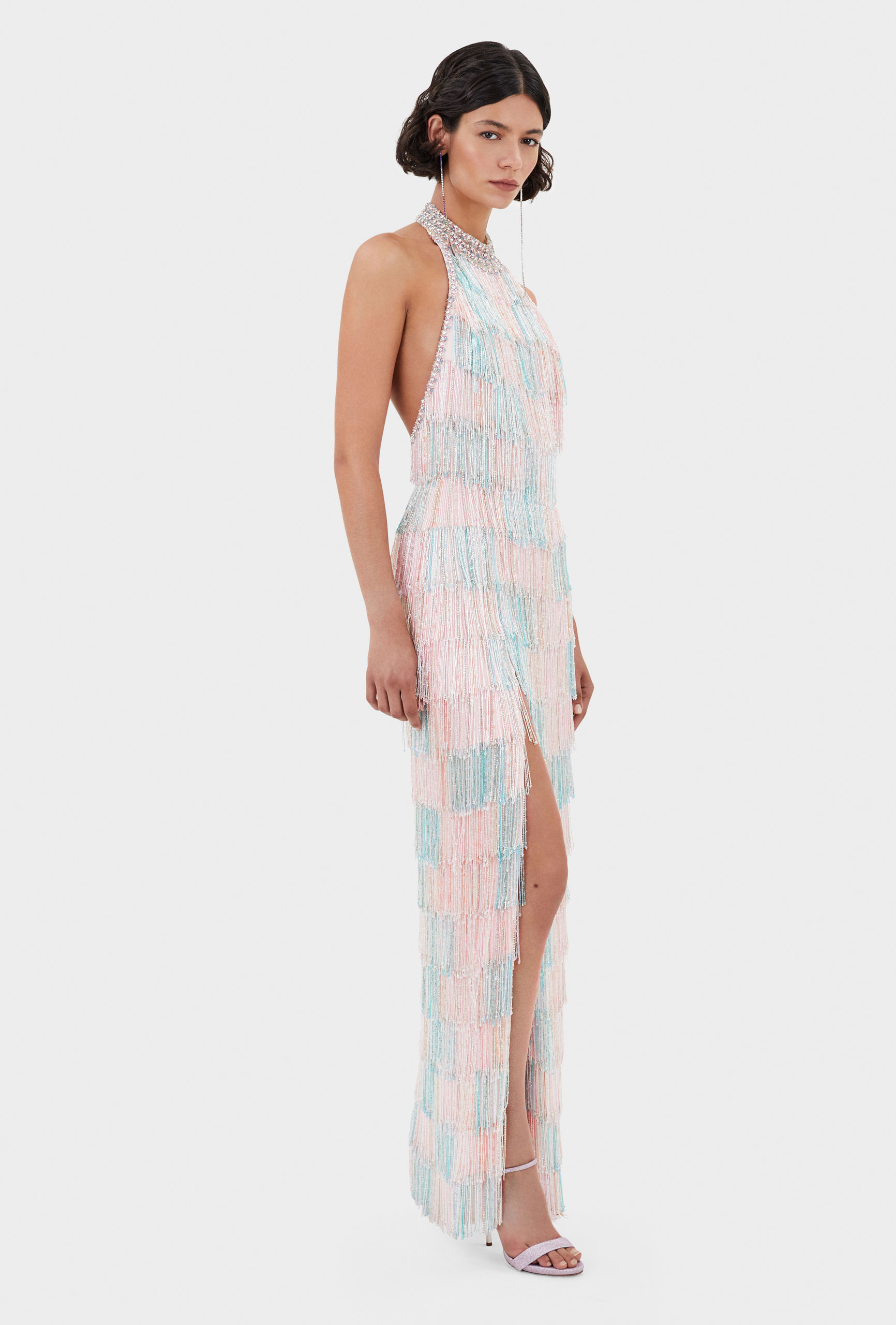 Thom Laurence Dress, Crystal fringes in Pink and blue, Italian Crepe cady, Hand embellishment, Made in London