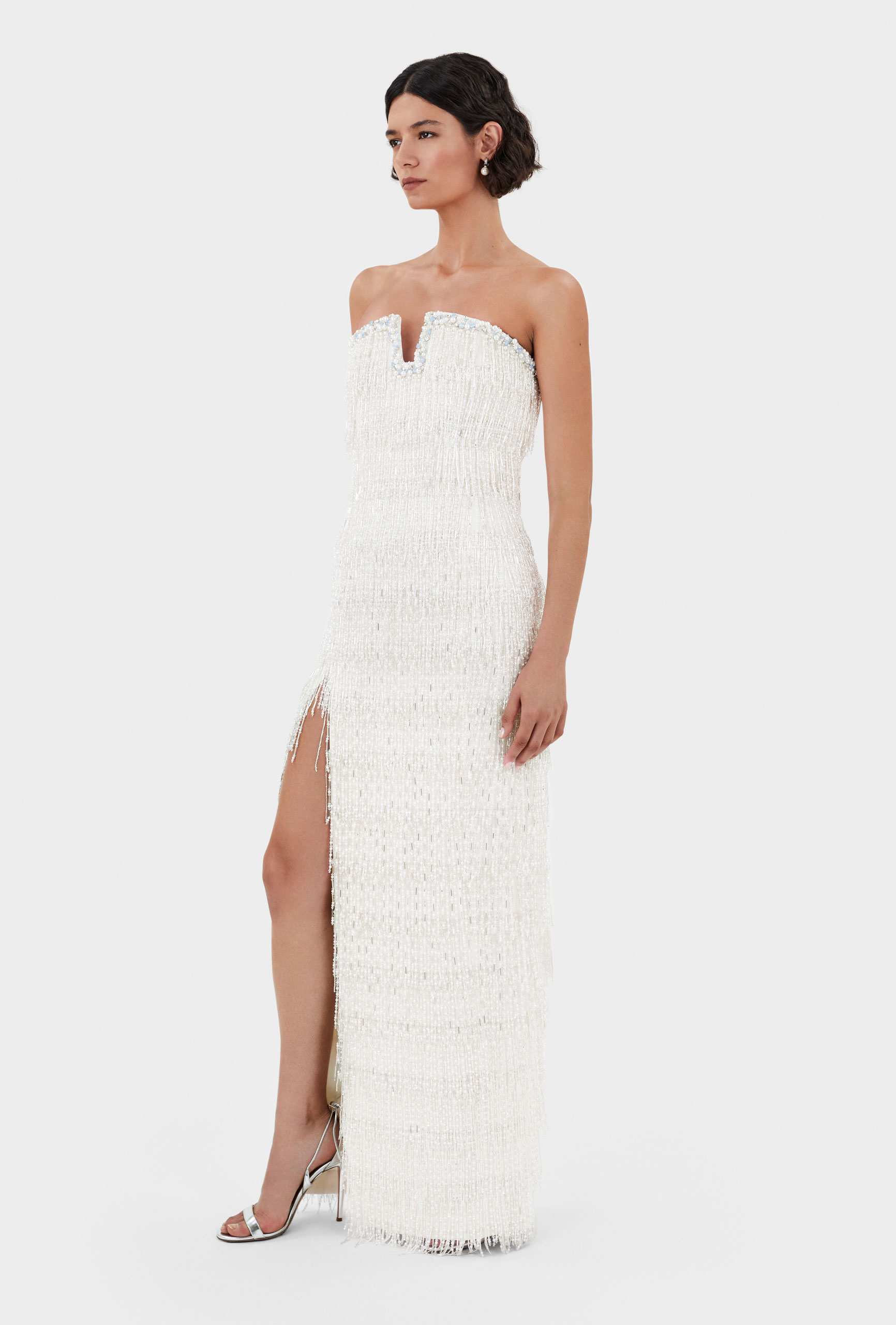 Thom Laurence Dress, Crystal and pearl fringes, crusted bustline, Italian crepe lady, hand embellishment, made in London