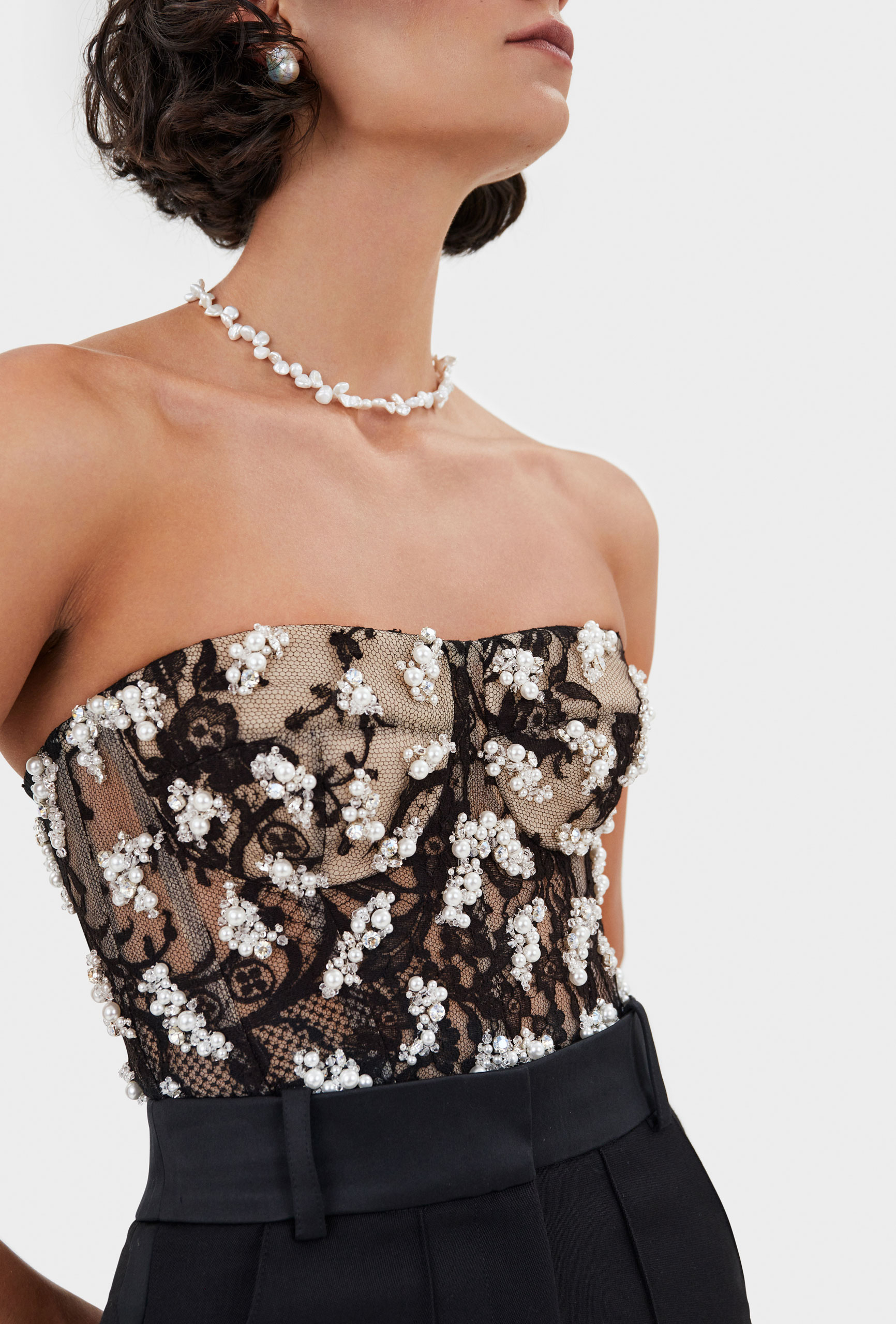 Thom Laurence Bustier, Crystal and pearl clusters, French Lace, Hand embellishment, made in London