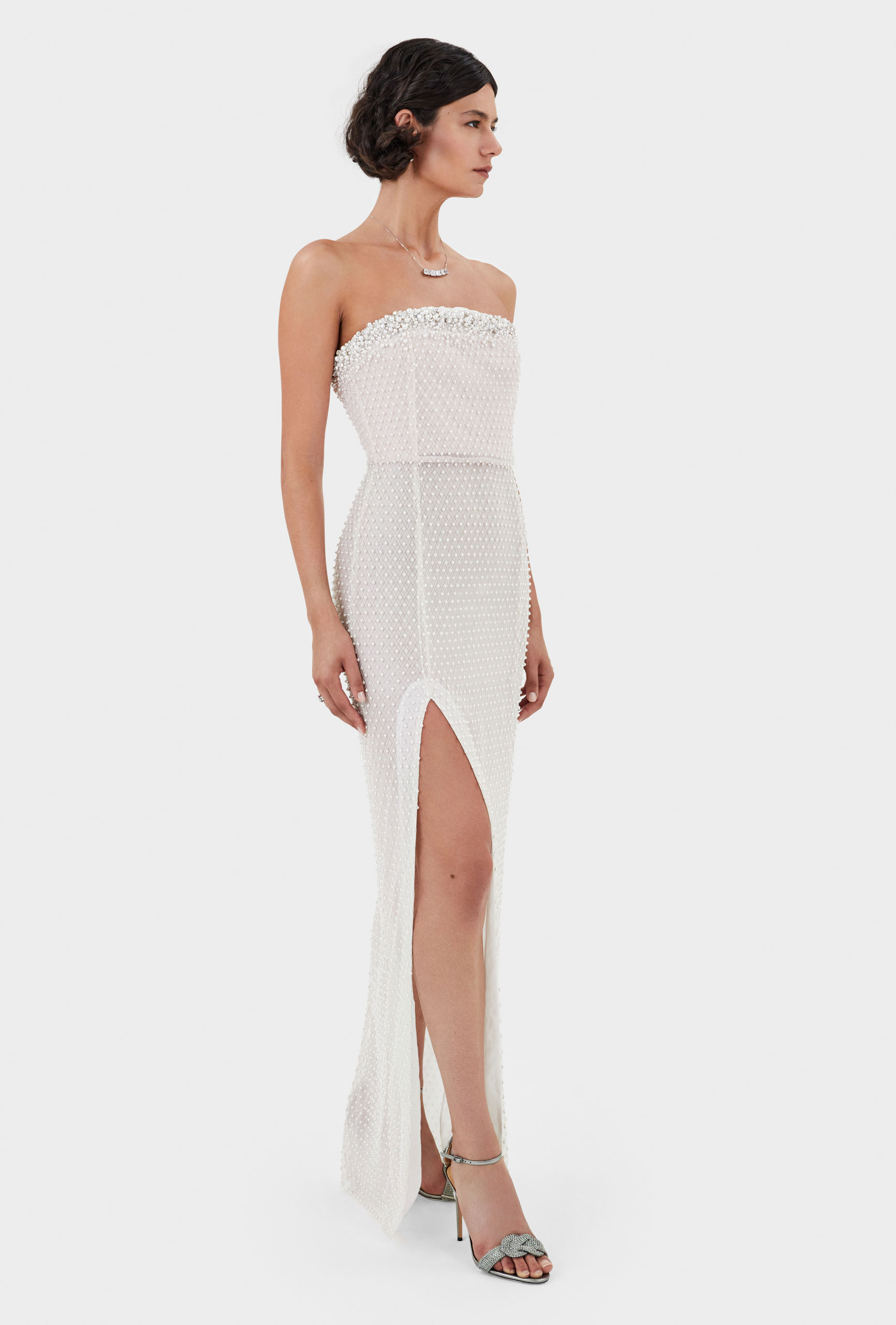 Thom Laurence Dress, embellished bodice, Artful draping, High thigh slit, hand embellishment, Made in London